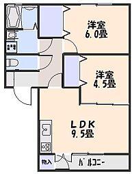 ステージ6 B棟 2階2LDKの間取り