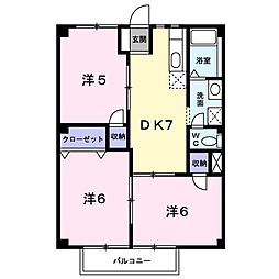 東京都武蔵村山市岸2丁目の賃貸アパートの間取り