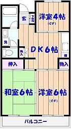 市川カトレアハイツ松塚[202号室]の間取り