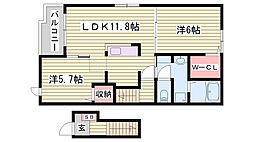 JR播但線 福崎駅 徒歩14分の賃貸アパート 2階2LDKの間取り