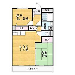 阪奈ローレルハイツ[4階]の間取り