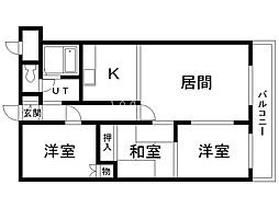 モエレマンション 3階3LDKの間取り