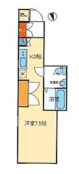 東京メトロ副都心線 北参道駅 徒歩6分の賃貸マンション 3階ワンルームの間取り