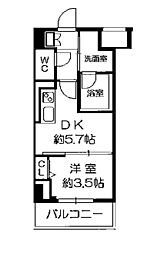 Osaka Metro長堀鶴見緑地線 西長堀駅 徒歩3分の賃貸マンション 5階ワンルームの間取り