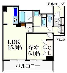 ワコーレ神戸灘タワー 9階1LDKの間取り
