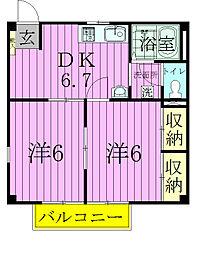 ウィステリアII[2階]の間取り