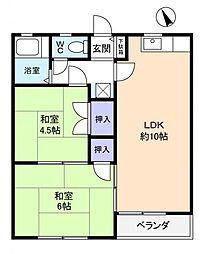 コーポKEIII[2階]の間取り