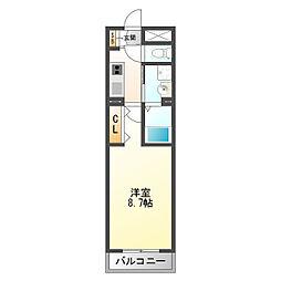 三津屋南二番館 2階1Kの間取り