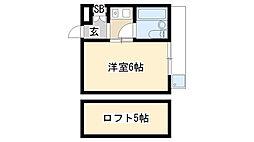 愛知県名古屋市天白区向が丘1丁目の賃貸アパートの間取り