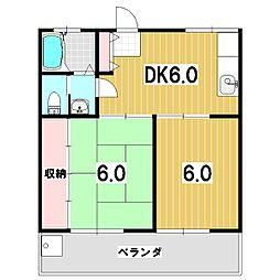 キャッスルKA[3B号室]の間取り