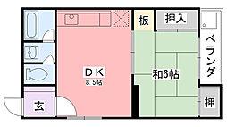 兵庫県西宮市今津曙町の賃貸マンションの間取り