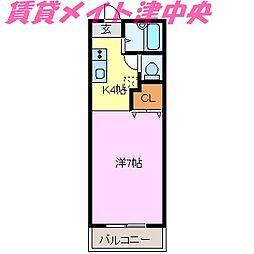 三重県津市安濃町清水の賃貸アパートの間取り