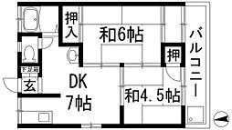 大阪府箕面市桜ケ丘3丁目の賃貸マンションの間取り