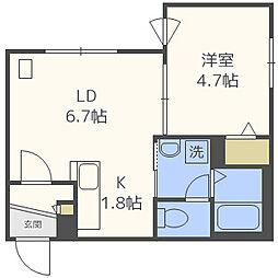 INFINITY東札幌II 3階1LDKの間取り