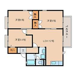 静岡県焼津市東小川の賃貸アパートの間取り