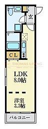 福岡市地下鉄空港線 唐人町駅 徒歩5分の賃貸マンション 3階1LDKの間取り