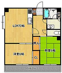 兵庫県神戸市北区鈴蘭台南町4丁目の賃貸マンションの間取り