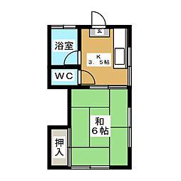 永田コーポ[1階]の間取り