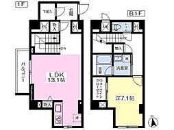 都営浅草線 高輪台駅 徒歩6分の賃貸マンション 1階1LDKの間取り