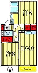 セジュール御堂の上B[2階]の間取り