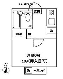 プラザ鶴川21 1階1Kの間取り