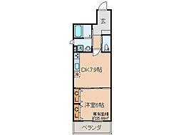 京都府京都市伏見区向島本丸町の賃貸マンションの間取り