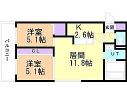 癒禅(ユウゼン)32 3階2LDKの間取り