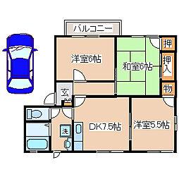 兵庫県明石市和坂2丁目の賃貸アパートの間取り