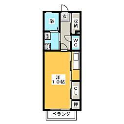 メゾンココット 2階ワンルームの間取り