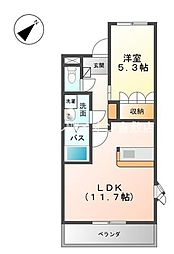 岡山県倉敷市連島町連島丁目なしの賃貸アパートの間取り