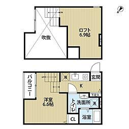 福岡県福岡市博多区吉塚2丁目の賃貸アパートの間取り