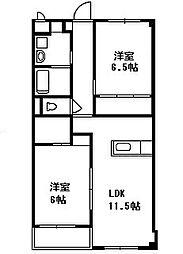 南川マンション 3階2LDKの間取り
