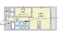 阪急千里線 山田駅 徒歩9分の賃貸マンション 2階1LDKの間取り