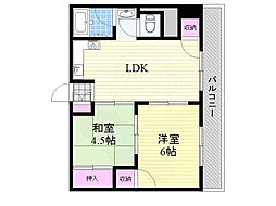 淀川ハイツ 3階2LDKの間取り