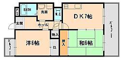 兵庫県伊丹市山田3丁目の賃貸マンションの間取り