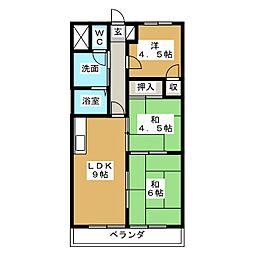 吉田マンション城房[5階]の間取り