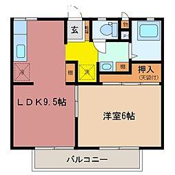 リバーハイツ B棟[1階]の間取り
