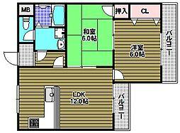 大阪府富田林市大字彼方の賃貸マンションの間取り