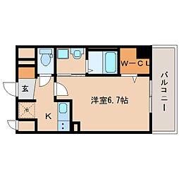 近鉄奈良線 新大宮駅 徒歩3分の賃貸マンション 7階1Kの間取り