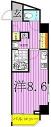 ART APARTMET IN TOKYO NORTH 3階ワンルームの間取り