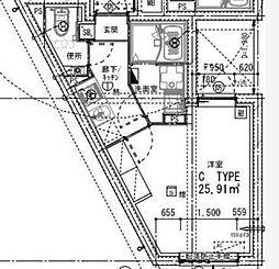 西武新宿線 新井薬師前駅 徒歩6分の賃貸マンション 2階1Kの間取り