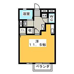 セジュール津田III 1階ワンルームの間取り