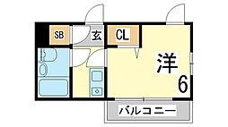 兵庫県神戸市須磨区車竹ノ下の賃貸マンションの間取り
