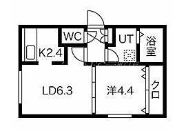 エルフ11 1階1LDKの間取り