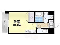 西鉄天神大牟田線 薬院駅 徒歩15分の賃貸マンション 12階ワンルームの間取り