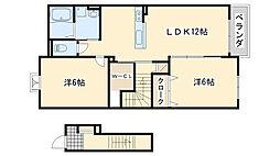 南海線 鳥取ノ荘駅 徒歩13分の賃貸アパート 2階2LDKの間取り