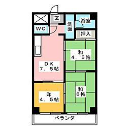 愛知県名古屋市港区名港1丁目の賃貸マンションの間取り