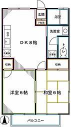 JR中央本線 西国分寺駅 徒歩5分の賃貸アパート 2階2DKの間取り