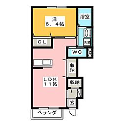 岐阜市萱場K様新築アパート A棟[1階]の間取り