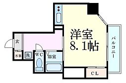 ル・パルトネール梅田北 8階1Kの間取り